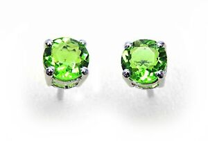 #80505 1.10ct Green Helenite 5mm Round Small Stud Earrings Sterling Silver