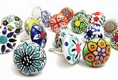 10 x Floral Mix Ceramic Knobs Door Knob Cupboard Cabinet Drawer Pull Handle