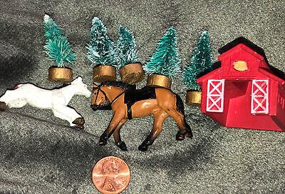 Miniature Tree Barn Stable Horses Christmas Village Train Decoration Vintage Set