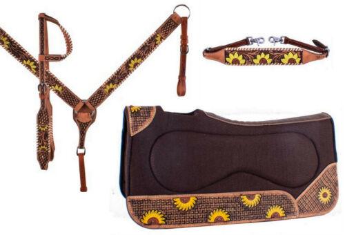 Western Saddle Horse Leather Tack Set w/ Sunflower Design Bridle + Breast Collar