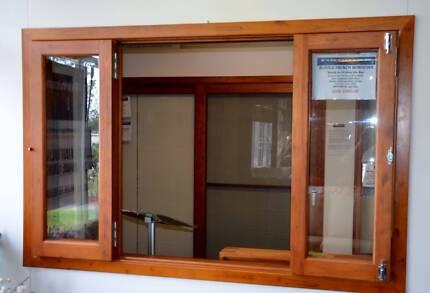 SOLID CEDAR BIFOLD WINDOW 1800W x 1200, NEW FULLY BUILT IN FRAME
