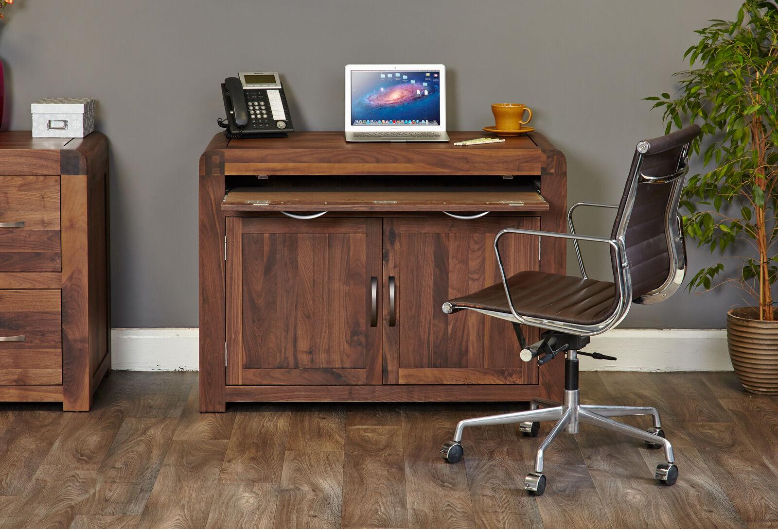 shiro premium dark wood workstation with hideaway pc desk modern rh ebay co uk Computer Desks for Home Modern Glass Computer Desk