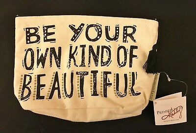 BE YOUR OWN KIND OF BEAUTIFUL cotton canvas zipper pouch 9-3/4 x 6-1/2