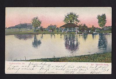 c1906 boats Nichols Park Jacksonville Illinois postcard