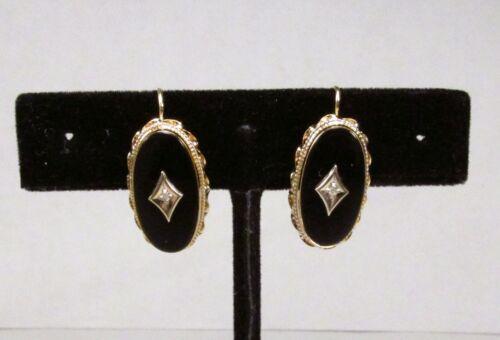Antique 1930s Art Deco Era 14K Gold Black Onyx Diamond Oval Fish Hook Earrings
