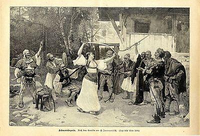 P.Iwanowitsch ( Schwerttänzerin ) Militärische Graphik von 1897