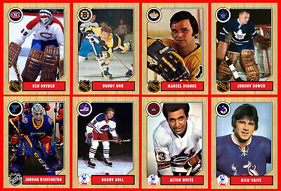 RETRO 1960s 1970s 1980s 1990s Hockey Card Style PHOTO CARDS U-Pick THICK (Set (1970 Retro Fashion)