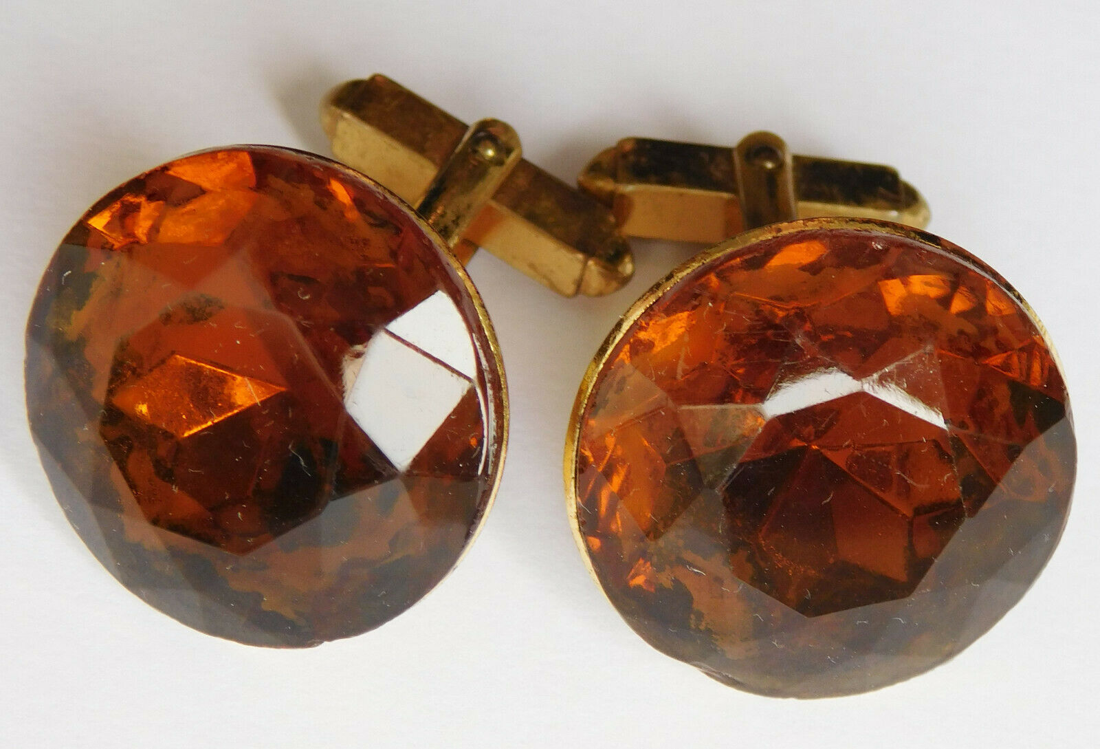 Vintage 1970s big chunky cufflinks faceted glass flashy orange amber colour eb