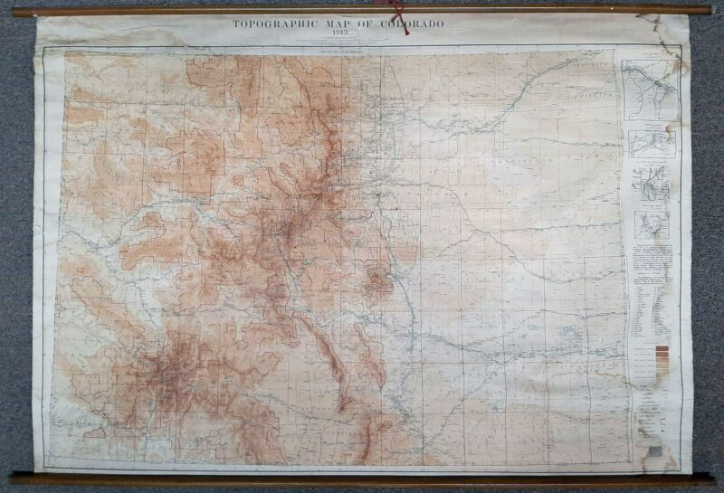 RARE Historical Large 1913 Topographic Map of Colorado 59x40 Russell D George