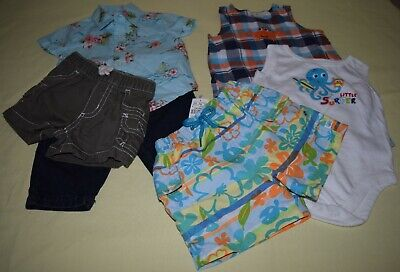 Baby Boy 6 Piece Lot Assorted One-Piece Pants Shorts Shirt Swim Short 0-6 Month Cotton Baby One Piece
