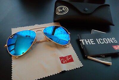 Ray Ban Aviator flash lenses Blau Gold