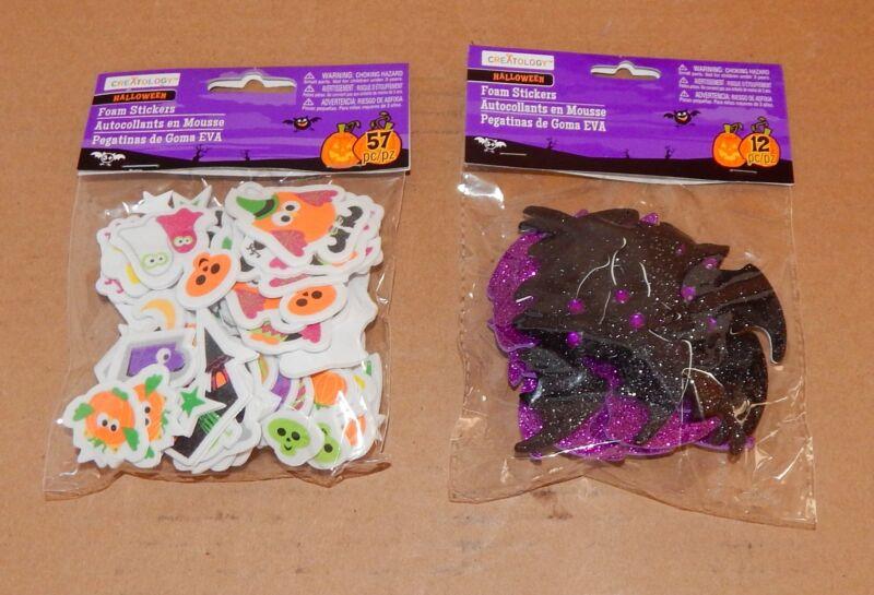 Halloween Foam Stickers Creatology 69pc Glitter Bats Owls Cats Pumpkins 41H