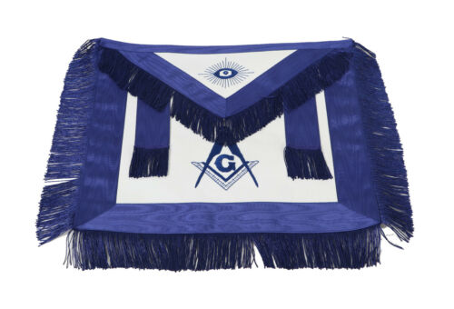 Masonic (%100 Lambskin) Master Mason Blue Lodge Apron Blue with Fringe