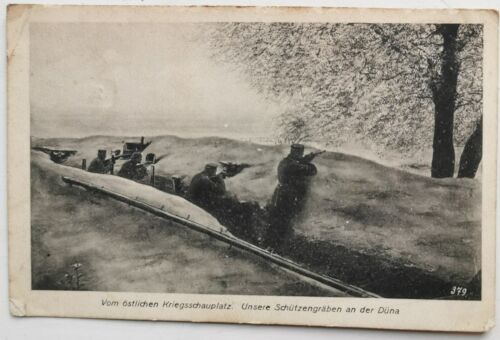 Germany WWI Feldpost East front german soldiers shoting Mailed in 1917