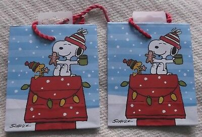 HALLMARK PEANUTS SNOOPY & WOODSTOCK CHRISTMAS GIFT BAGS (4) - X-SMALL - NEW
