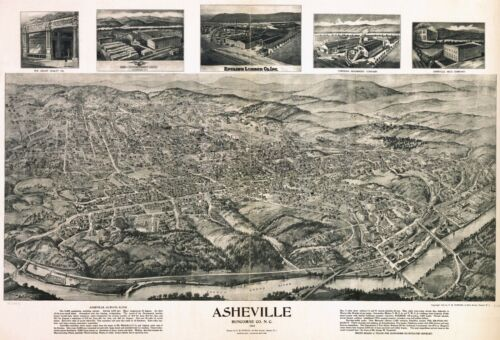 1912 ASHEVILLE NORTH CAROLINA BUNCOMBE county panoramic map GENEALOGY poster nc2
