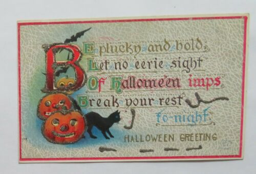 VTG Halloween Postcard Jack-O-Lanterns & Black Cat Trimmed With Glitter