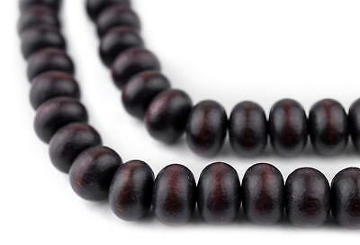Dark Brown Abacus Natural Wood Beads 8x12mm Round Large Hole 16 Inch Strand