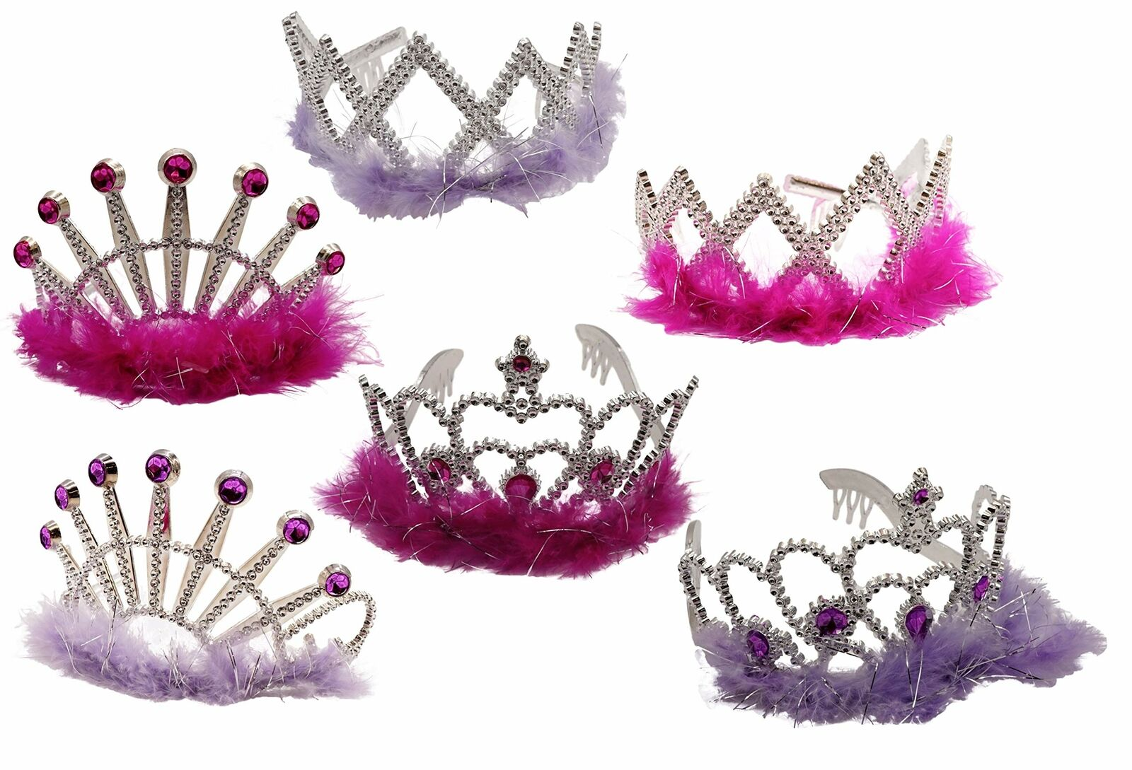 Princess Tiara Crowns Dress Up (6 Pack, Styles Vary) Plastic Feather Play Favor