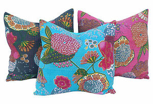 5-Kantha-Pillows-cushion-covers-cotton-vintage-sari-Hand-quilted-16-x16-CU-5