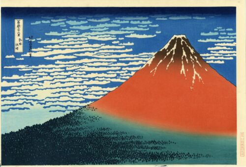 """Famous HOKUSAI Japanese woodblock print: """"RED FUJI"""" from """"Thirty-views of Fuji."""""""