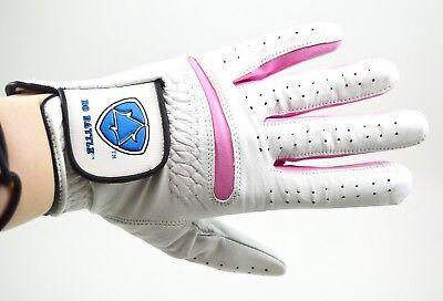 Medium Leather Glove - Golf Women's Medium Left Hand Glove NEW Cabretta Leather Grip Ladies Pink