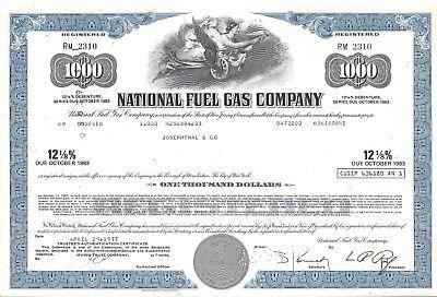 National Fuel Gas Company      Debenture Certificate  Due 1983