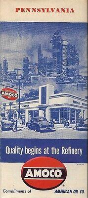 1951 AMOCO PERMALUBE American Oil Road Map PENNSYLVANIA Pittsburgh Philadelphia