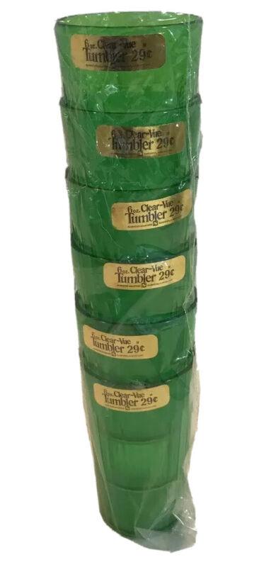Vintage Lot 6 NOS Mid Century Clear-Vue 6 oz Mini Tumblers In Original Plastic