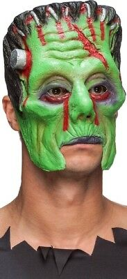 Latex Halloween Outfit (Mens Frankenstein 3/4 Face Latex Halloween Fancy Dress Costume Outfit)