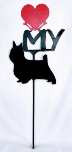 SilkyTerrier Love (heart) Yard Sign Metal Silhouette Made in the USA