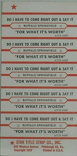"JUKEBOX TITLE STRIP SHEET - BUFFALO SPRINGFIELD ""For What It"