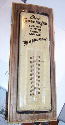 antique Copenhagen Chew Tobacco Vintage tin thermometer sign app 12 x 4 inch