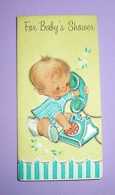 VINTAGE 1950'S FOR BABY'S SHOWER MINI CARD FORGET ME NOT WITH ENVELOPE ADORABLE