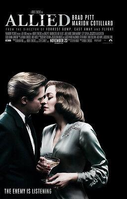 Allied Movie Poster 2 Sided Original Final Nm 27X40 Brad Pitt Marion Cotillard