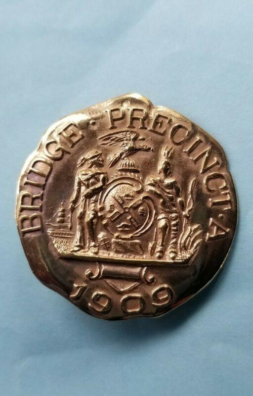 Antique Historical NYC Bridge Police Medal 1909 Precinct A