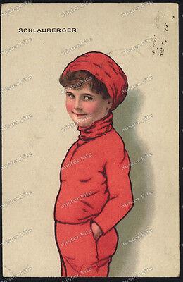 schlauberger-Junge/Knabe Rot-Cute Teen Boy Red Dress -Berlin-1918-Künstlerkarte (Cute Teen Boy)