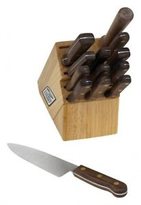 Chicago-Cutlery-Walnut-Tradition-14-Piece-Block-Set-New-Free-Shipping