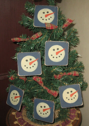 PRIMITIVE COUNTRY LITTLE SIGN ORNIES WITH SNOWMAN HEAD set of 6
