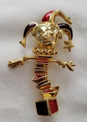 VINTAGE BROOCH JACK IN THE BOX ENAMEL GOLD TONE RHINESTONES COLLECTABLE PIN](Jack In The Box Costume)