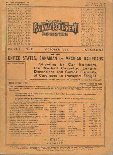 Official Railway Equipment Register  OCT  1953  ORER RR