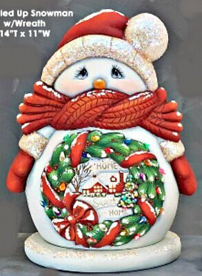 CERAMIC BISQUE CHRISTMAS LG.CUDDLE UP SNOWMAN WREATH- LIGHT INCL-READY TO PAINT
