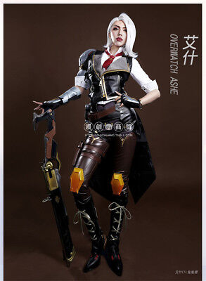 Game Overwatch OW Ashe Full Suit Outfit+Shoes Cosplay Costume Uniform Unisex Hot - Full Suit Costumes