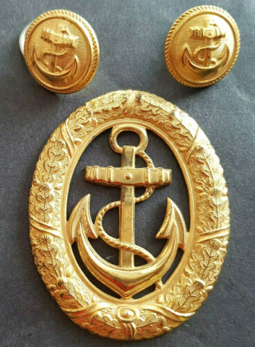 German NAVY GOLD TUNIC Badge, 4 BUTTONS