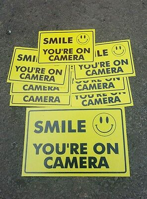 - VIDEO SURVEILLANCE Security Decal  Warning Sticker (smile you're )set of 8 pcs .