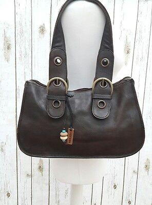 Hidesign Radley  Brown Leather Shoulder  Handbag Tote Grab Vintage Women Purse