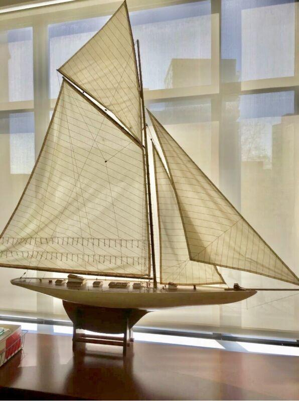 Vintage LARGE Pond Sailor Hollow Wooden boat yacht Ship Sailboat model Display