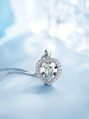 Sterling Silver Crystal Heart Birthstone Necklace Gift Box &Pouch Valentine LOVE