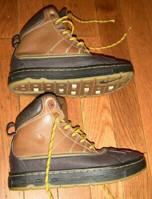 BOYS KIDS NIKE ACG BOOTS SHOES BROWN BLACK LEATHER 1Y 1