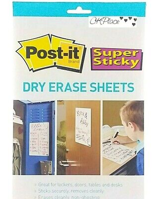 5 Post It Brand Super Sticky Dry Erase Sheets 7 X 11.3 5 Pack - 6319